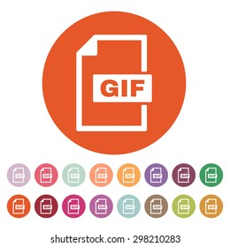The GIF icon. File format symbol. Flat Vector illustration. Button Set