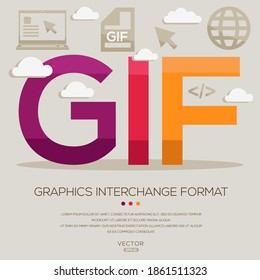 GIF mean (Graphics Interchange Format) Computer and Internet acronyms ,letters and icons ,Vector illustration.