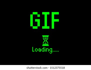 GIF sign with loading icon pixel art bitmap style. Progress bar almost reaching Play animation icon for social networks . Green Vector flat design Gif loading pixel hourglass cursor. Isolated or black