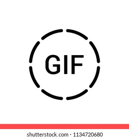 Gif vector icon. Simple, flat design for web or mobile app