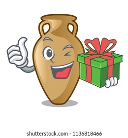 With gift amphora mascot cartoon style