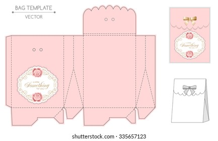 Gift bag template with hand drawn roses and curly design elements in retro style. Die-stamping