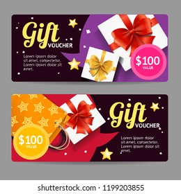 Gift Banner Horizontal Set with Realistic Detailed 3d Elements Include of Paper Bag and Box. Vector illustration of Banners