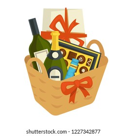 Gift basket full of chocolates and alcohol bottles vector. Package container decorated with bows and ribbons, Christmas and birthday special occasion of giving assorted composed festive present