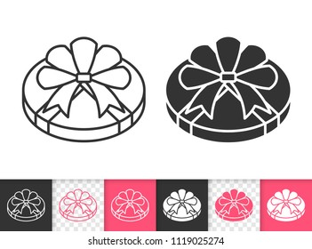 Gift black linear and silhouette icons. Thin line sign of bounty box. Present outline pictogram isolated on white, color, transparent background. Vector Icon shape. Gift simple symbol closeup