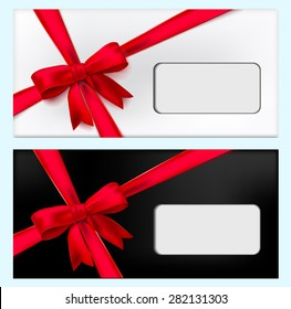 Gift black and white envelope tied red ribbon cross ribbon. Vector illustration
