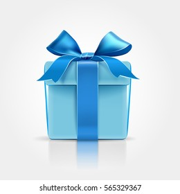 Gift with blue bow isolated on white. Vector illustration
