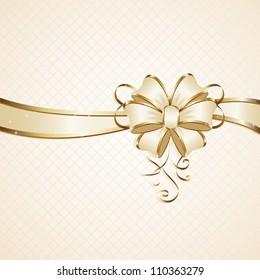 Gift bow on beige background, illustration.