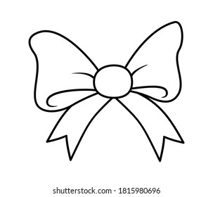 Gift bow with ribbon icon. Outline vector illustration isolated on white background. Coloring book for children.