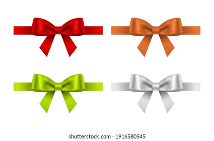 gift bow with ribbon icon set