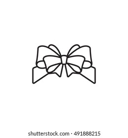 Gift bow vector icon. Vector outline bow for gift