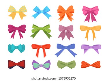 Gift bows colorful flat vector illustrations set. Orange, blue, red, violet bowties decorative bundle. Multicolor hair bows, knots for presents wrapping cartoon elements isolated on white background