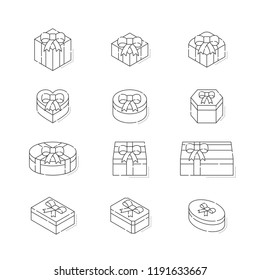 Gift box 3d isometric with shadow icon outline stroke set dash line design illustration isolated on white background, vector eps 10