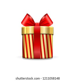 Gift box 3d, red ribbon bow Isolated white background. Decoration present gold gift-box for Happy holiday, birthday, Valentine celebration, Christmas surprise. Giftbox design Vector illustration