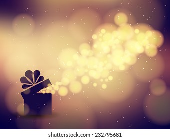 Gift box in the background bokeh. Vector illustration  for the holidays