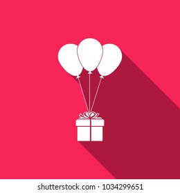 Gift box with balloons icon isolated with long shadow. Flat design. Vector Illustration