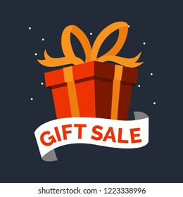 gift box birthday celebrate Boxing day big sale concept background. Flat design day big sale vector concept background web and app snow winter.