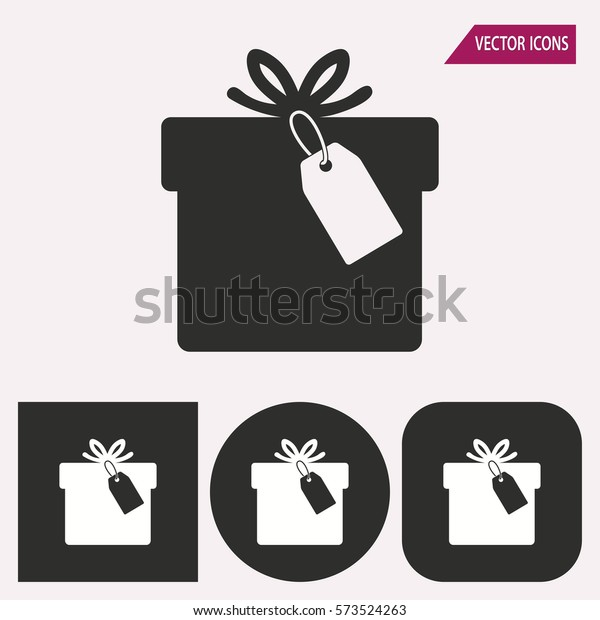 Gift Box Black White Icons Vector Stock Vector Royalty Free 573524263