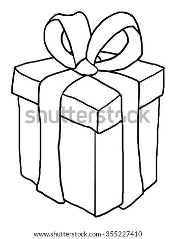 Gift Box Black White Outline Vector Stock Vector Royalty Free