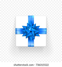 Gift box with blue bow ribbon design template for Birthday, New Year or Christmas holiday giftbox or greeting card decoration. Vector isolated blue Bday bow gift wrapper on transparent background
