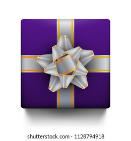 Gift box with bow, top view, isolated on white