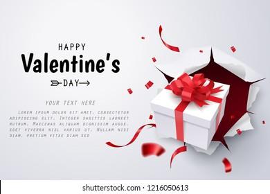 Gift box break thru paper wall, Valentine's day celebrate, vector art and illustration