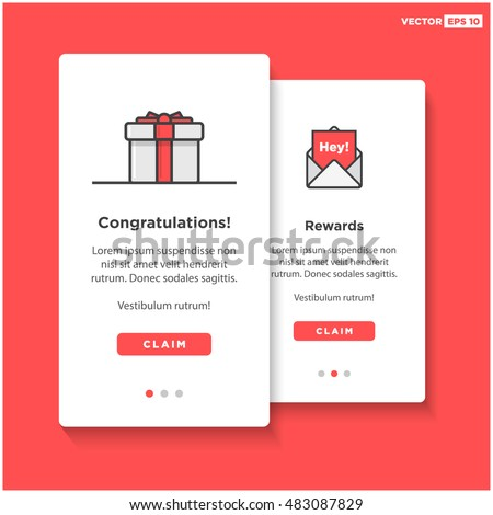 gift box card template ui ux stock vector royalty free 483087829