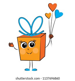 Gift box character cartoon with a bouquet of hearts. Celebration. Congratulation