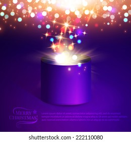 Gift box. Christmas lights. Vector illustration