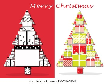 gift box and Christmas tree