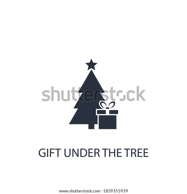 Gift box with christmas tree icon. Surprise vector illustration. Present under xmas tree symbol.