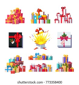 Gift box collection. Colorful piles of decorated presents. Gift box decor set. Wrapped cardboard presents with ribbon bows. Flat style vector illustration on white background.