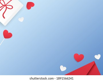 Gift box, confetti, hearts and envelope with free space for text on a blue background. Valentine's Day concept. Mother's day concept. Flat lay, top view. Wallpaper, flyers, invitations, posters.