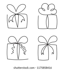 Gift box continuous line vector illustration set - various hand drawn editable outline present packages isolated on white background.
