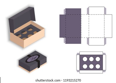 Gift box for cupcake. Template. Box design, die-stamping. Greeting packaging. Presents packing. Vector. 3d box, for delivery