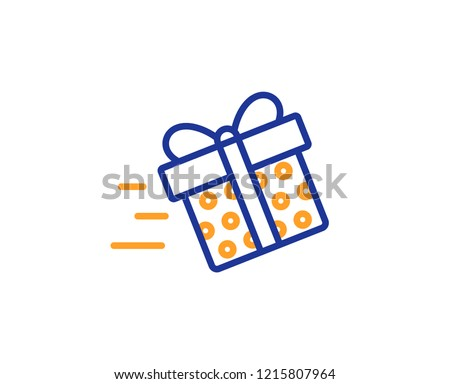 Gift Box Delivery Line Icon Present Or Sale Sign Birthday Shopping Symbol Package