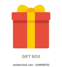 Gift box flat icon on white transparent background. You can be used gift box icon for several purposes.