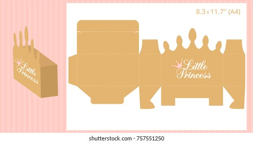 Gift box - gold crown shape. Vector template for handmade and laser cutting. Can be used for little princess party. Birthday, baby and bridal shower, wedding candy bar ( table, buffet) Print and cut.