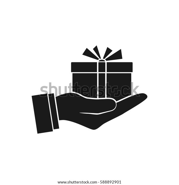 Gift box in hand, icon, silhouette. Vector illustration flat design. Isolated on white background. Human giving, receiving surprise box hold in palm. Delivery of gifts for the holiday.