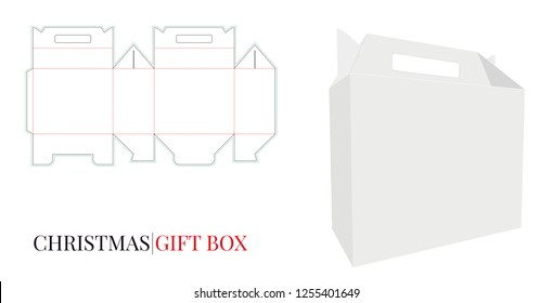 Gift Box with Handle,  Vector with die cut / laser cut layers. Delivery Box with Handle Illustration. White, clear, blank, isolated Christmas Box mock up on white background, 3D presentation