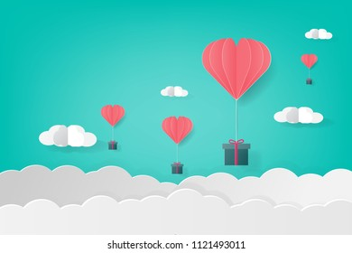 Gift box hanging with balloon and clound paper art vector illustration design for birthday, christmas,festival concept