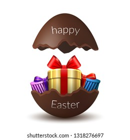 Gift box Happy Easter egg surprise. Broken chocolate Easter 3D egg, isolated white background. Decoration template card, holiday celebration. Realistic gold present, bright ribbon Vector illustration