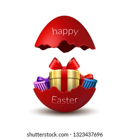 Gift box Happy Easter egg surprise. Broken red Easter 3D egg, isolated on white background. Decoration template card, holiday celebration. Realistic gold present, bright ribbon Vector illustration