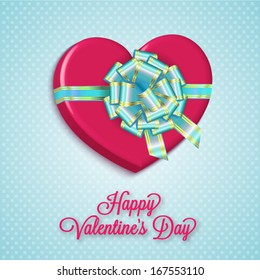Gift box - Heart with bow ribbon, Vector Illustration for Valentine's Day