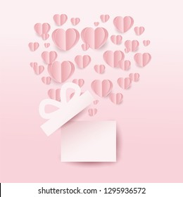 Valentine's gift box and hearts flying, heart shape on pink background. paper cut style. Vector illustration