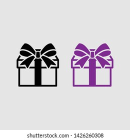 gift box icon color and black