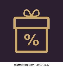 Gift box icon. Discount. Present symbol. Flat Vector illustration