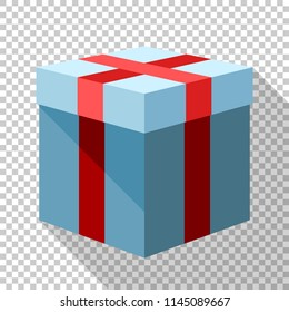 Gift box icon in flat style with long shadow on transparent background