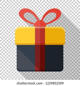 Gift box icon in flat style with red ribbon and long shadow on transparent background