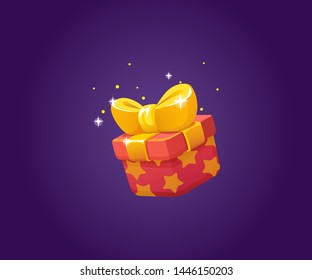 Gift Box Icon for a game interfaces. Funny cartoon gift box. Reward Vector icon. Getting rewards in a game. GUI set elements for mobile, video or web games. Final Prize